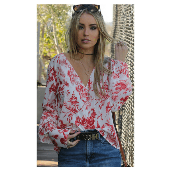 Red and White Floral Top