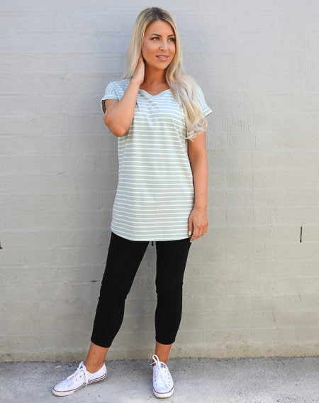Mint Green and White Stripe Tee